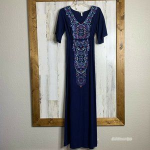 Soma NWOT womens long blue embroidered maxi dress